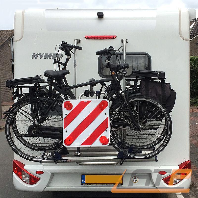 Warntafel rojo-blanco de plástico 50x50cm con catadióptricos cargas especiales caravanas