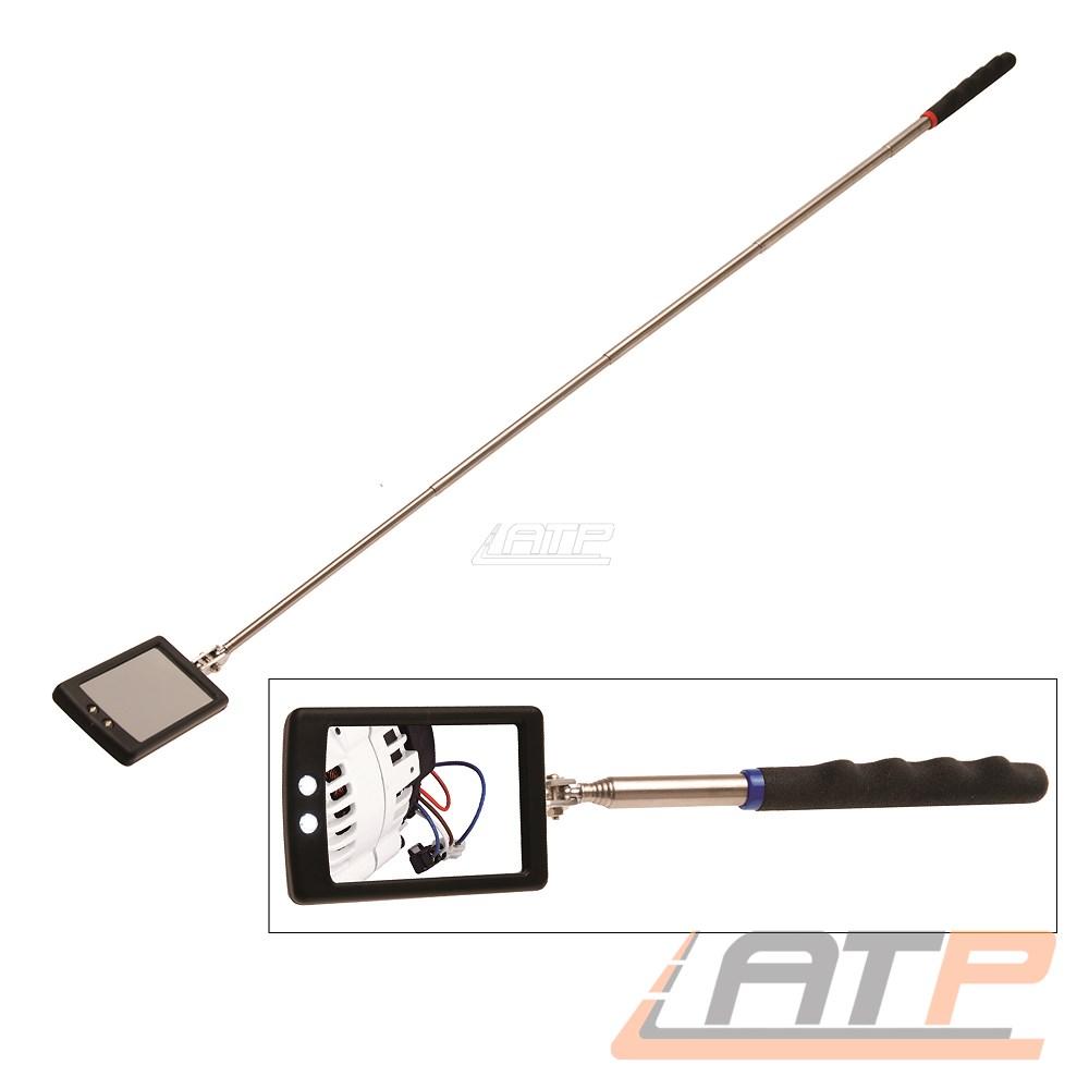 BGS Inspektionsspiegel Kontrollspiegel Teleskop Spiegel klapp und drehbar 2 LED