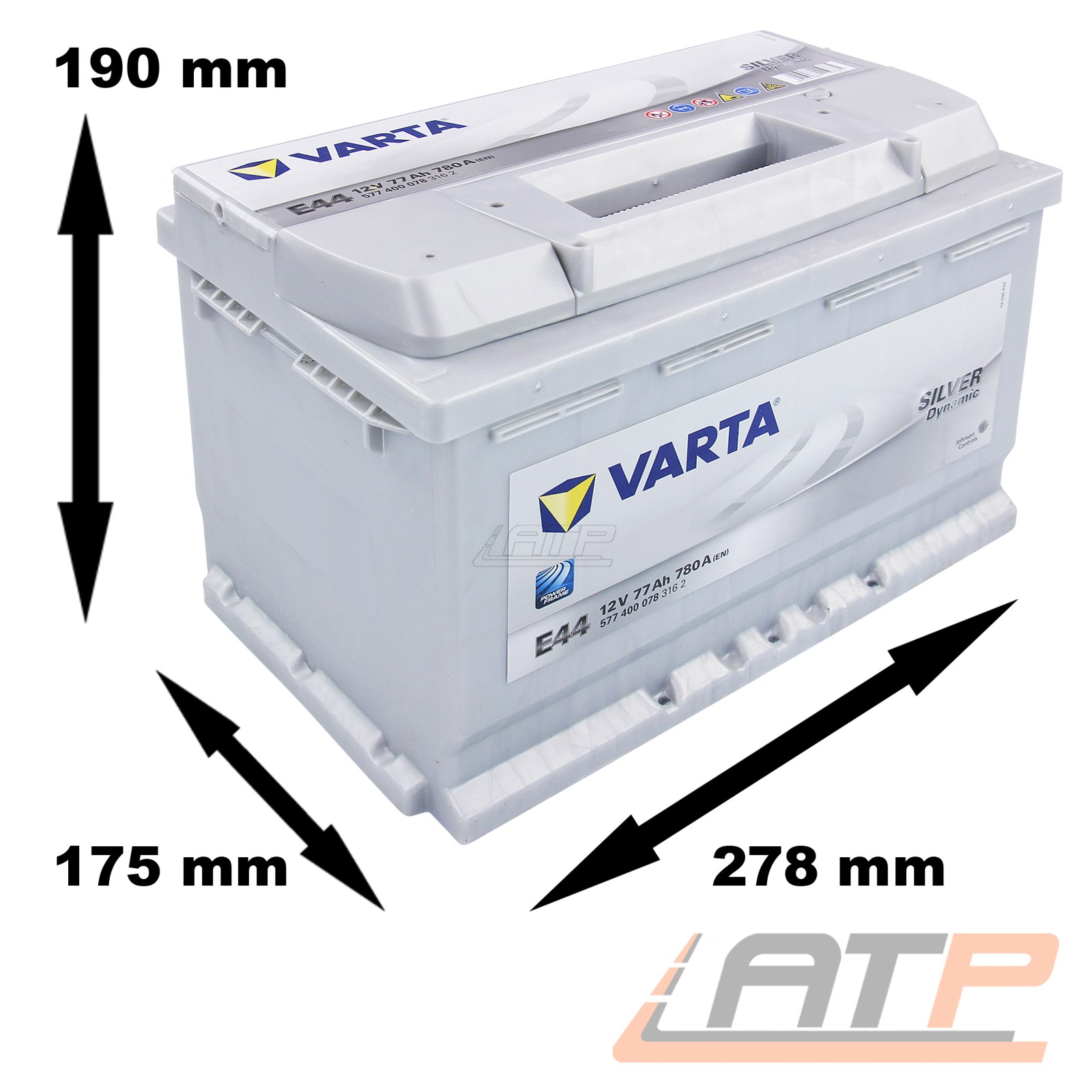 varta silver dynamic 77ah 12v autobatterie starterbatterie. Black Bedroom Furniture Sets. Home Design Ideas