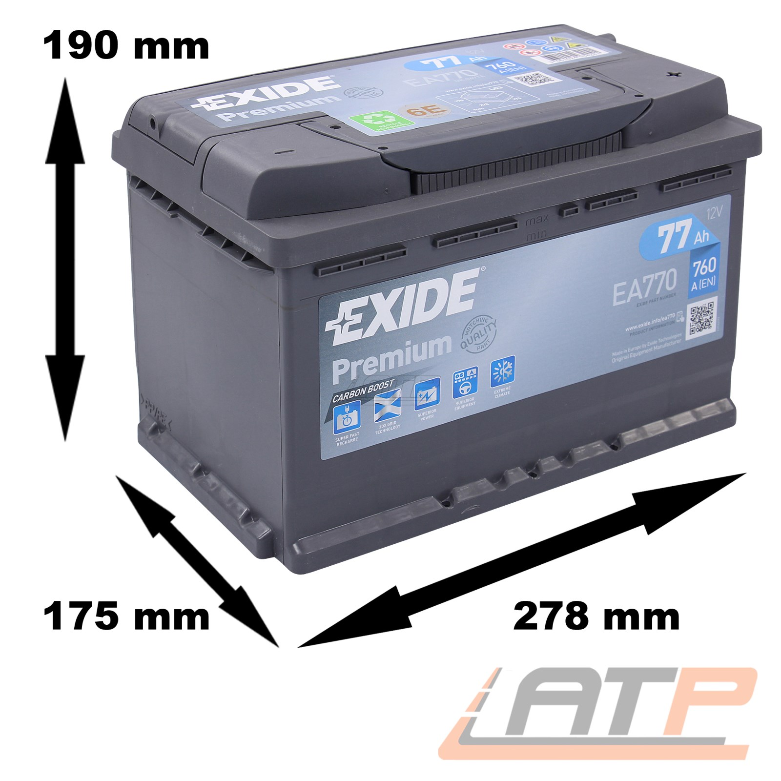 autobatterie pkw batterie exide ea770 premium carbon boost 77 ah 760 a 31964257 ebay. Black Bedroom Furniture Sets. Home Design Ideas