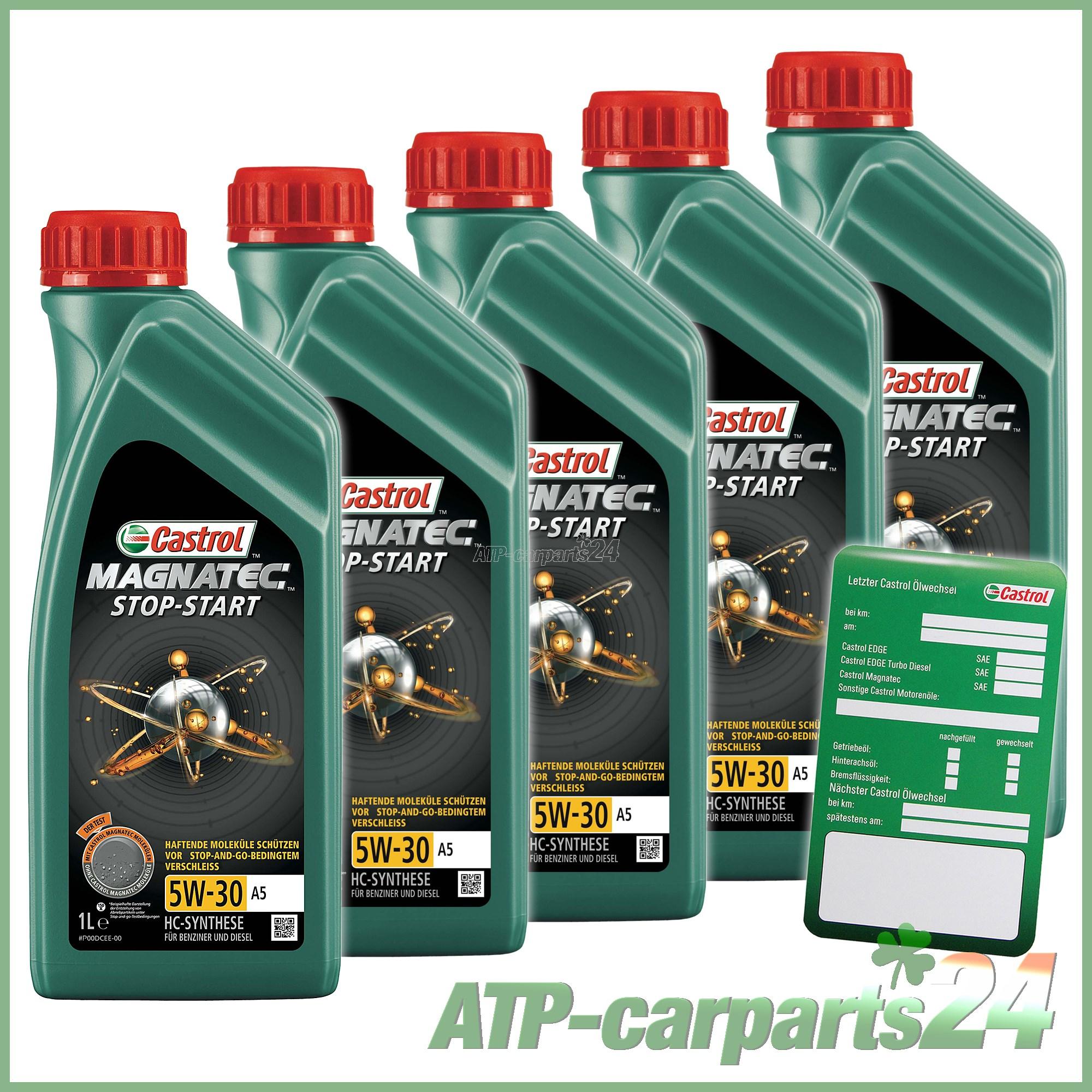 Castrol Oil Change >> Details About 5x 1 L Litre Castrol Magnatec Stop Start 5w 30 A5 Car Engine Motor Oil Label