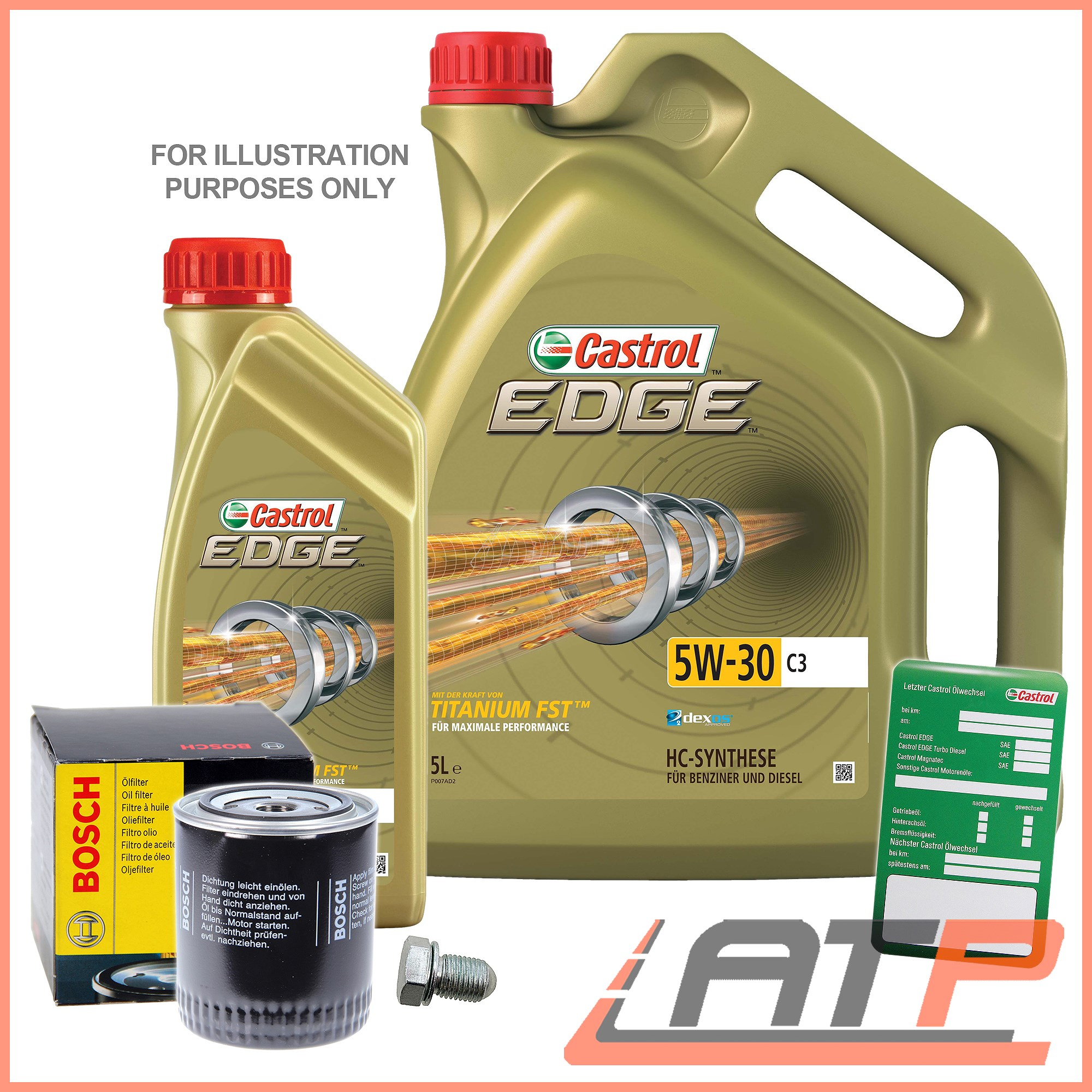 BOSCH-OIL-FILTER-6L-CASTROL-EDGE-FST-5W-30-C3-BMW-3-SERIES-E46-318d-320d-01-06