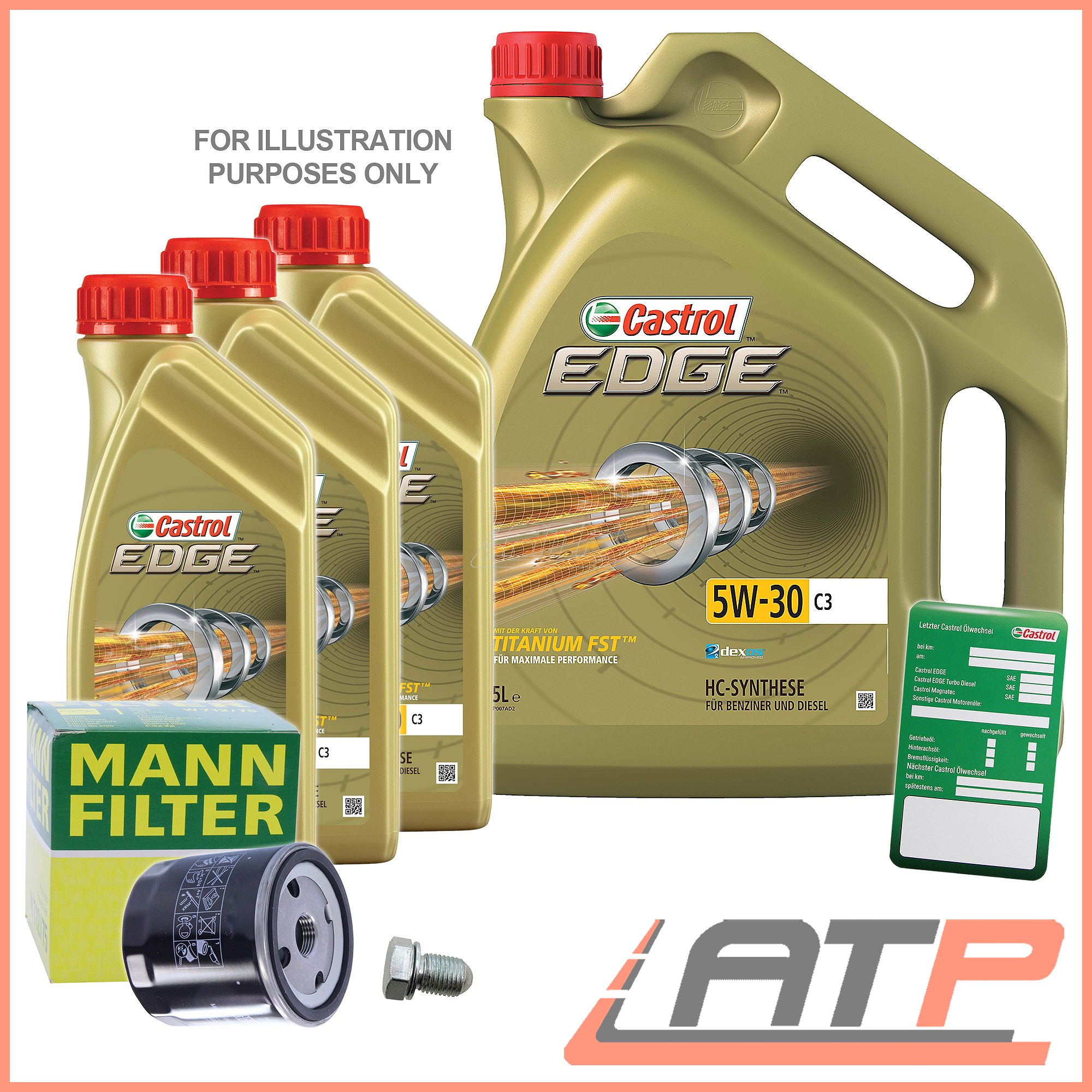 MANN-FILTER OIL FILTER+8L CASTROL EDGE FST 5W-30 C3 BMW X5