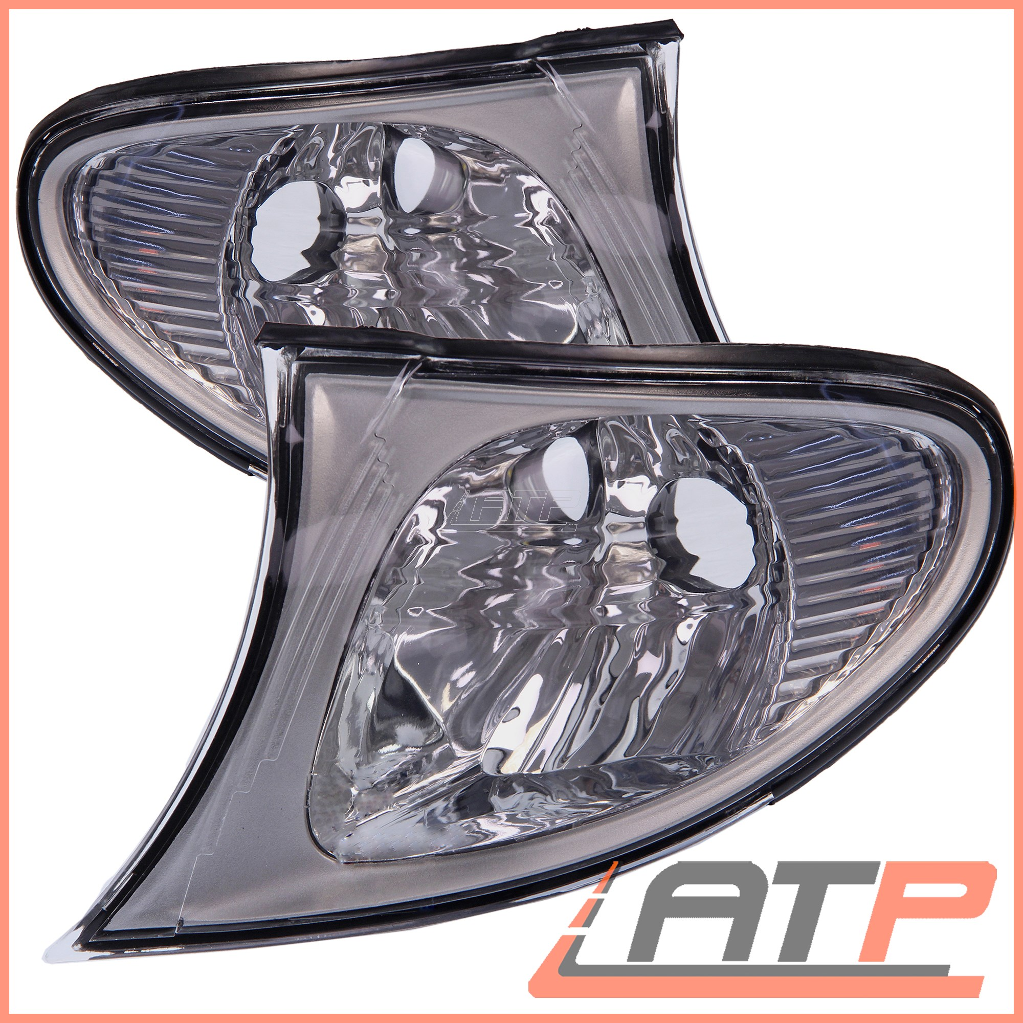 2X-INDICATOR-TURN-SIGNAL-CLEAR-FRONT-LEFT-RIGHT-BMW-3-SERIES-E46