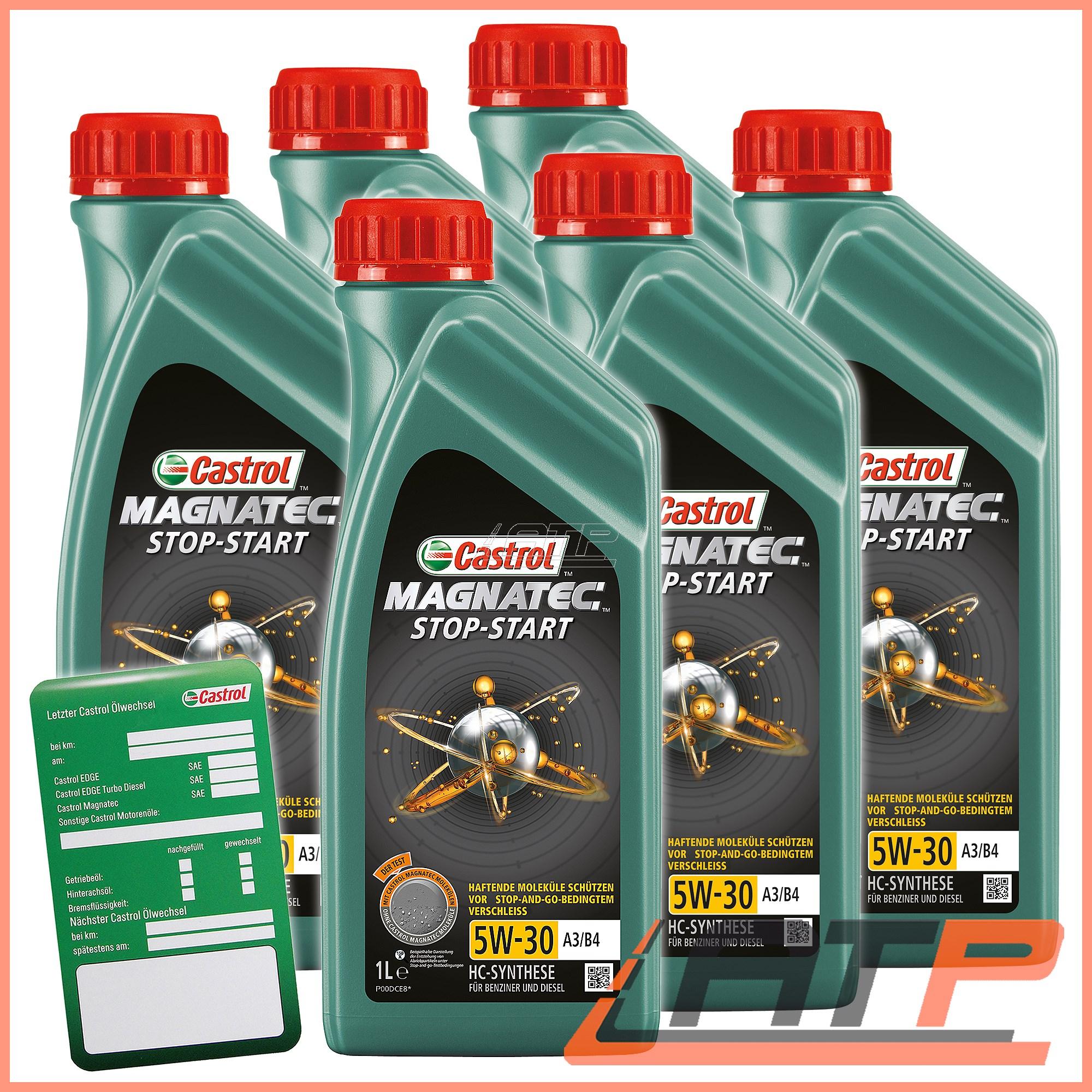 Castrol Oil Change >> 6x 1 L Litre Castrol Magnatec Stop Start 5w 30 A3 B4 Engine Oil