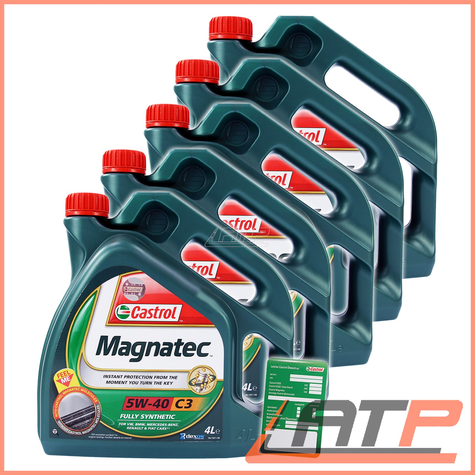 5x 4 l 20 litre castrol magnatec 5w 40 c3 engine oil. Black Bedroom Furniture Sets. Home Design Ideas