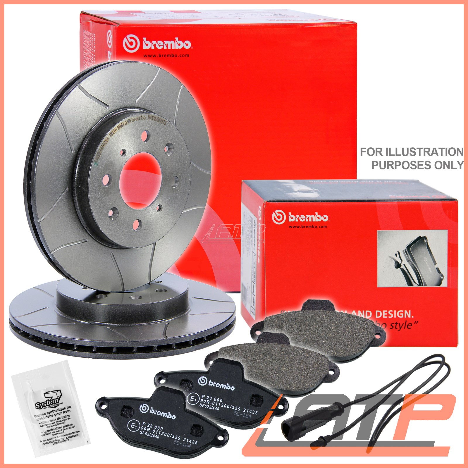 brembo sport max brake discs 312 vented pads front vw