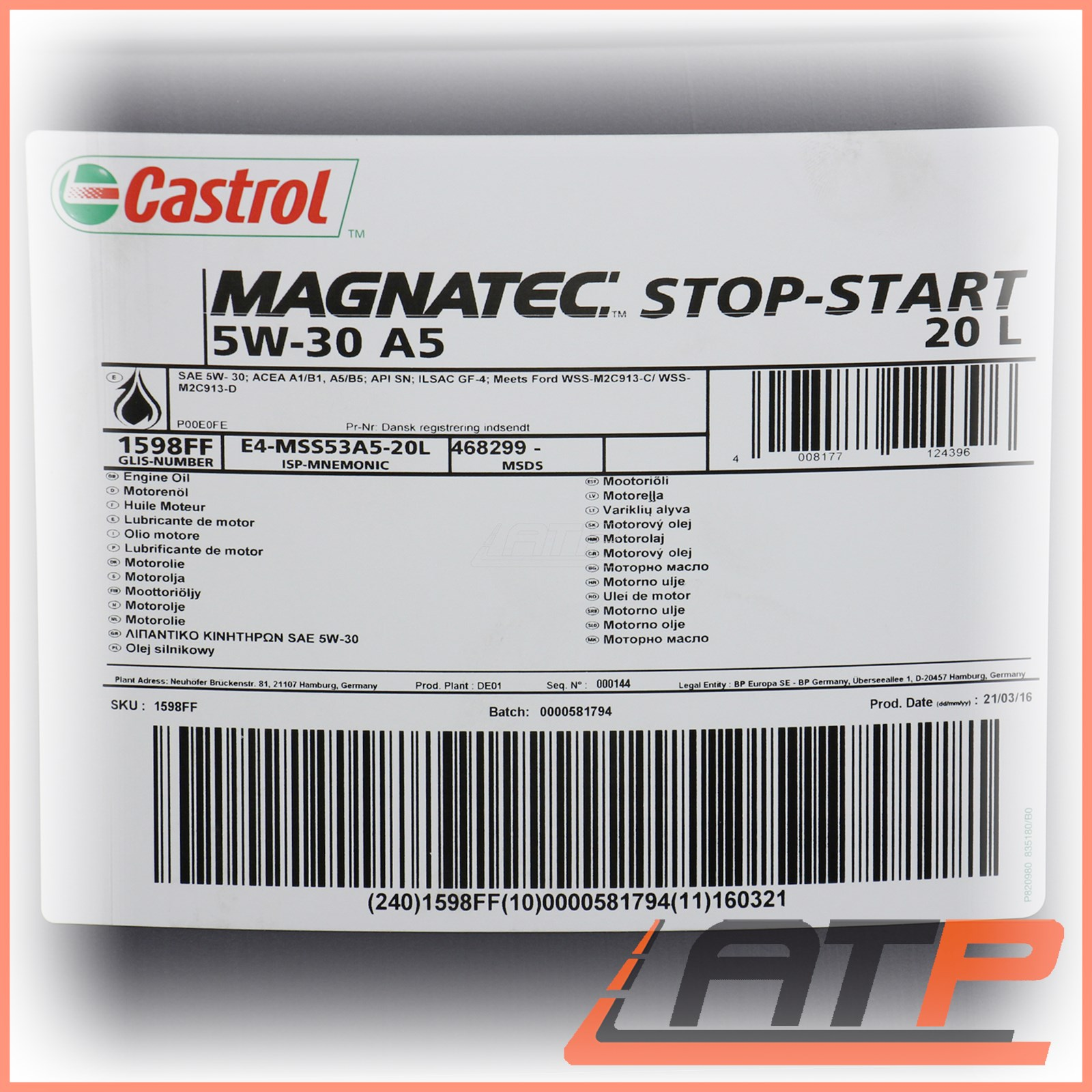 20 l litre castrol magnatec stop start 5w 30 a5 engine oil. Black Bedroom Furniture Sets. Home Design Ideas