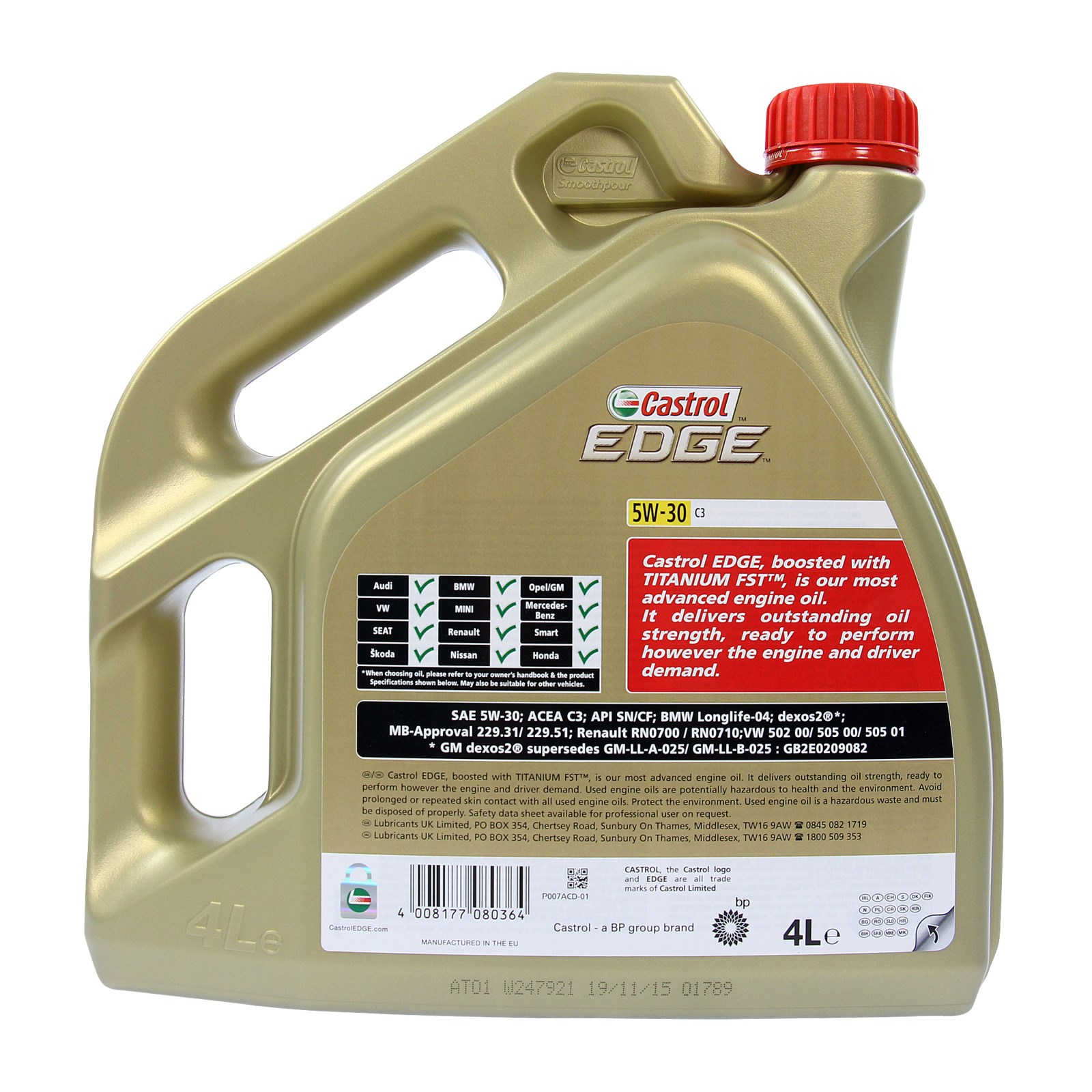 2x 4 l 8 litre castrol edge fst 5w 30 c3 engine oil bmw longlife 04 ebay. Black Bedroom Furniture Sets. Home Design Ideas