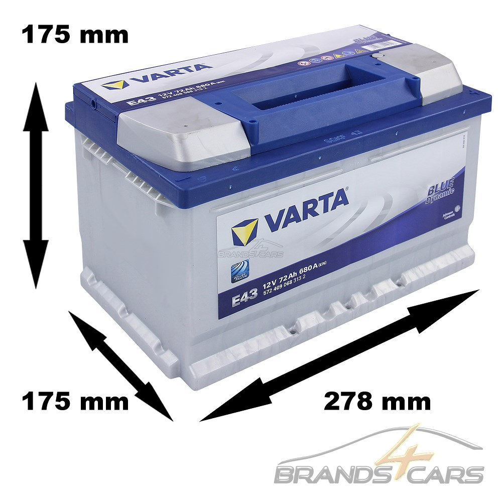 Batteria per auto 680 CCA 72 Ah Varta E43