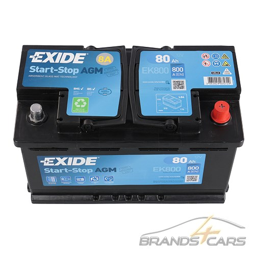 exide ek800 70ah 800a start stop agm autobatterie. Black Bedroom Furniture Sets. Home Design Ideas