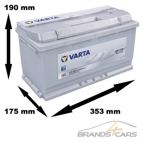 varta silver dynamic h3 100 ah 12v auto batterie. Black Bedroom Furniture Sets. Home Design Ideas