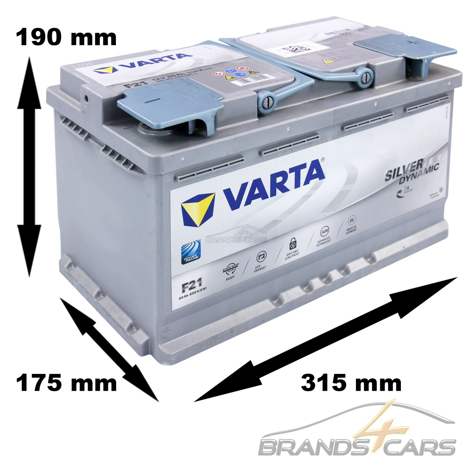 varta silver dynamic 12v 80ah 800a agm batterie start stop autobatterie 31610969 ebay. Black Bedroom Furniture Sets. Home Design Ideas