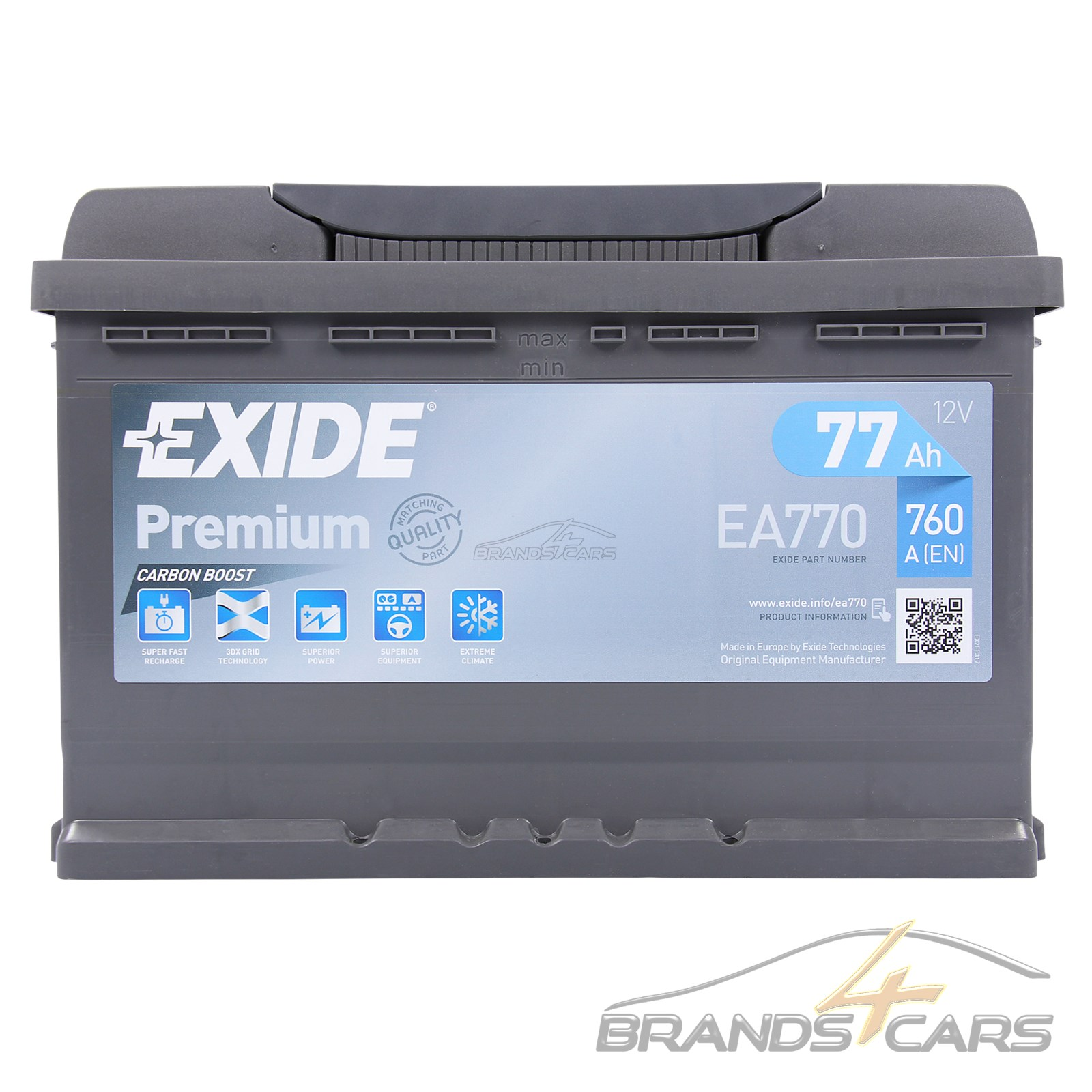 exide premium carbon boost 77ah 760a auto batterie. Black Bedroom Furniture Sets. Home Design Ideas