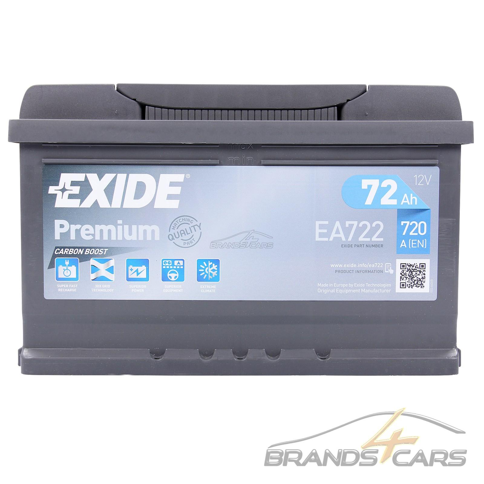 autobatterie exide ea722 premium carbon boost 72 ah 720 a 31962301 ebay. Black Bedroom Furniture Sets. Home Design Ideas