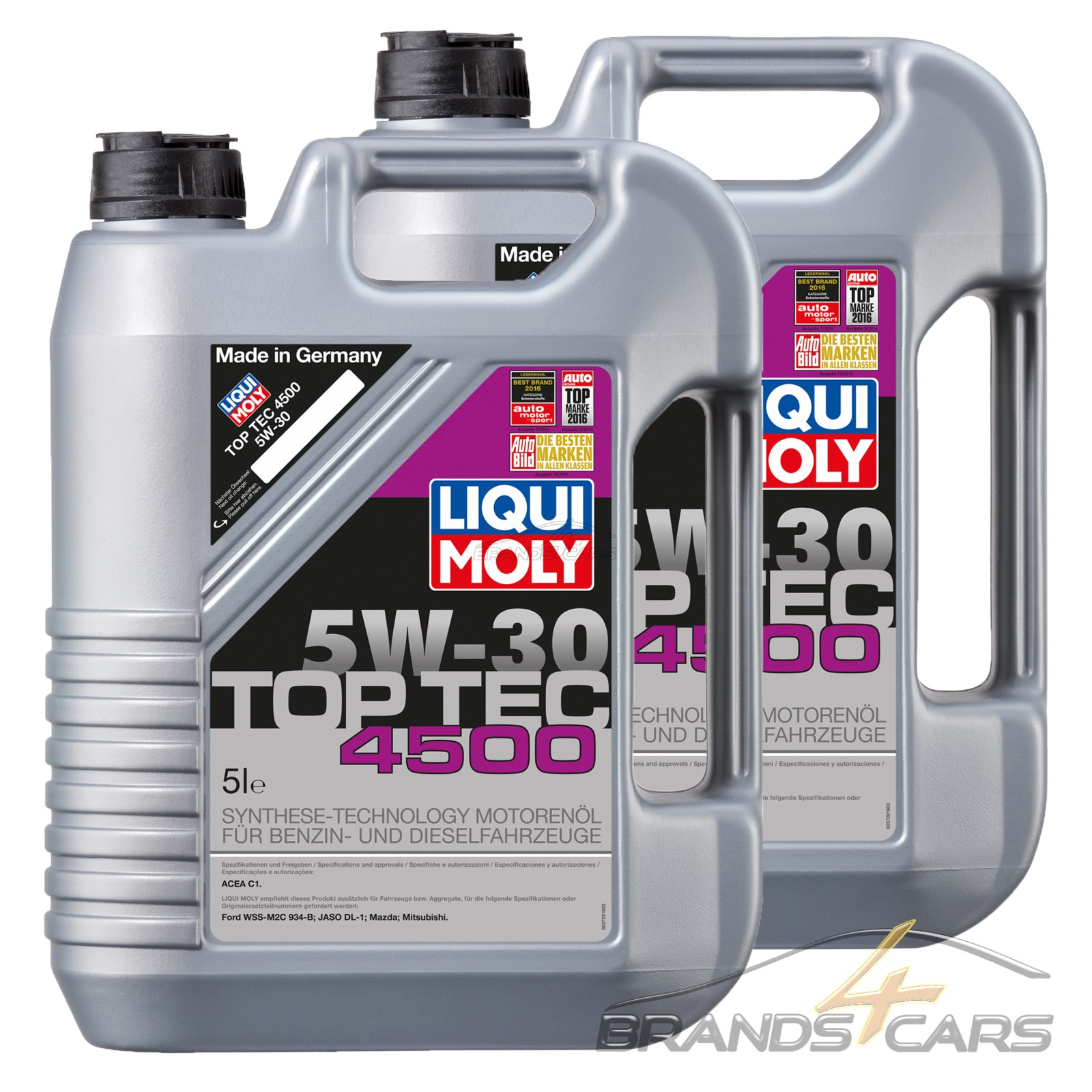 2x 5 l 10 liter liqui moly top tec 4500 5w 30 motor l. Black Bedroom Furniture Sets. Home Design Ideas