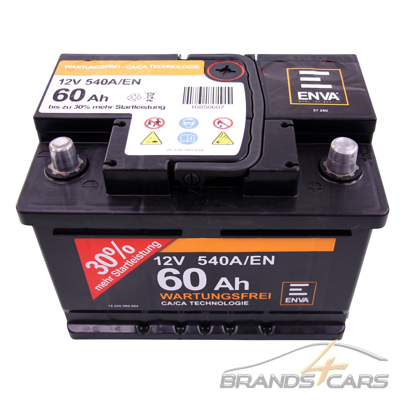 enva 60ah 540a 12v autobatterie starterbatterie batterie. Black Bedroom Furniture Sets. Home Design Ideas