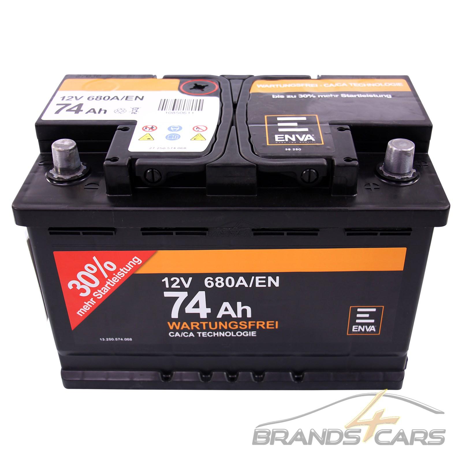 enva 74ah 680a 12v autobatterie starterbatterie batterie. Black Bedroom Furniture Sets. Home Design Ideas