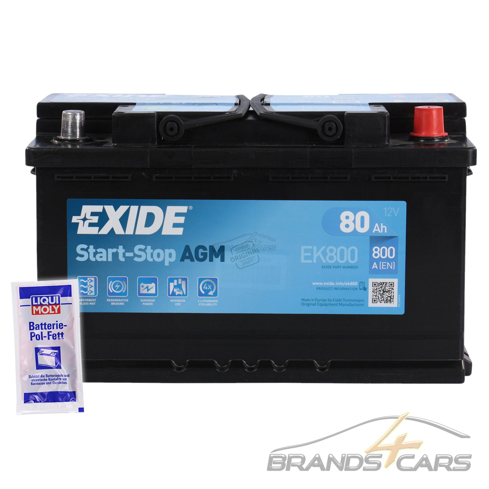 exide ek800 80ah 800ah start stop agm autobatterie. Black Bedroom Furniture Sets. Home Design Ideas