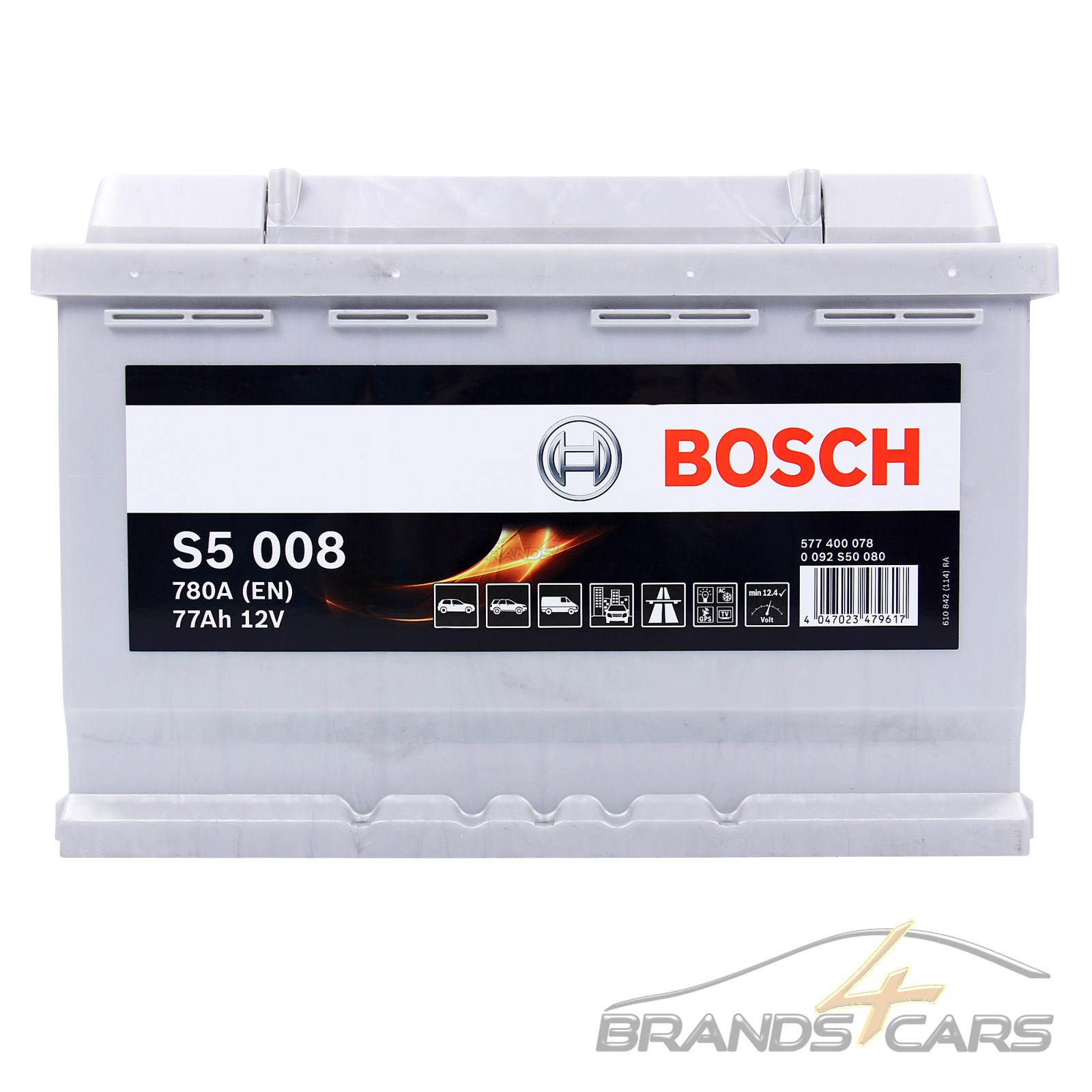 bosch s5 008 77ah 780a 12v autobatterie starterbatterie pkw batterie 31832904 ebay. Black Bedroom Furniture Sets. Home Design Ideas